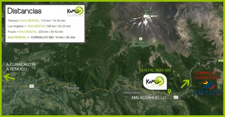 mapa KM3 malalcahuello